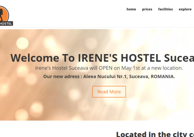 Irene's Hostel Suceava – One Page Website